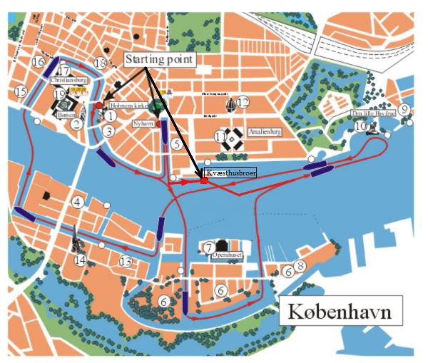 Kort over havnerundfart og kanalrundfart